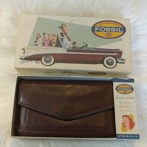 FOSSIL Tri-Fold Leather Envelope Wallet with Box